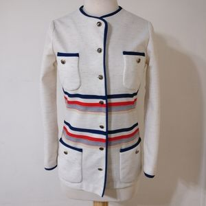 Vintage nautical anchor button striped jacket